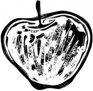 Ein skizzierter Apfel